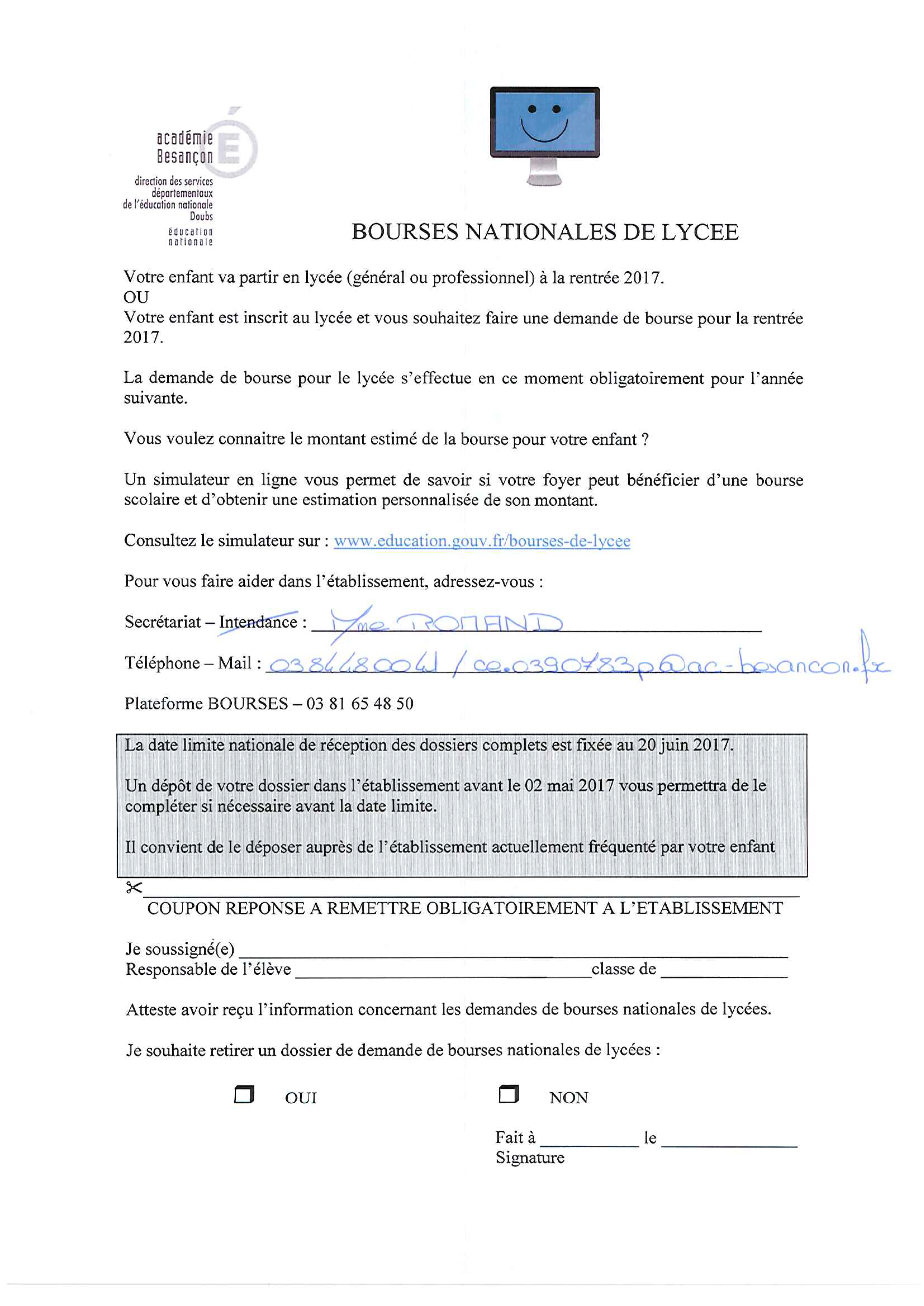 Bourses Nationales De Lycee College Xavier Bichat